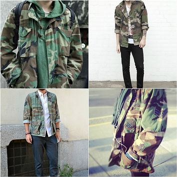 Vintage Camo Jacket Military Army Issued Slouchy Grunge Button Down All Sizes