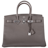 HERMES BIRKIN BAG 35cm ETAIN INSANLEY FAB EPSOM LEATHER PHW