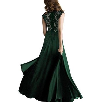US Wome's Lace Sleeveless Long Maxi Dress Lady Evening Party Prom Formal Dress