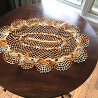 Vintage Table Topper, Large Oval Crocheted Doily in Variegated Orange Thread,Oval Doily,Orange Table Linens, Yellow Doily, Crocheted Linens