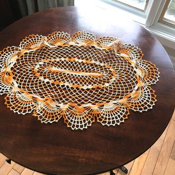 Vintage Table Topper, Large Oval Crocheted Doily In Variegated Orange  Thread,Oval Doily,