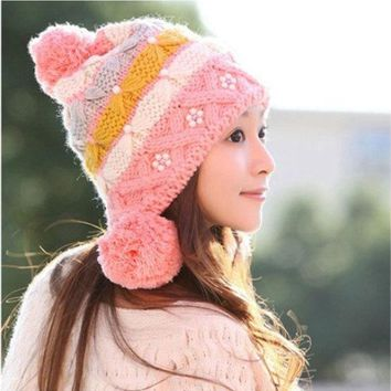 (1piece) New Women Knitting Hats Earflap Fashion Pearl Beanies For Women Free Shipping