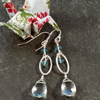 Sparkling Green Amethyst Drop Earrings with London Blue Topaz Rondelles Sterling Silver