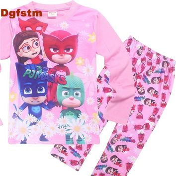 DGFSTM PJMASKS Girls Clothing Spring&Autumn Kids Clothes Baby Girls Clothing Set Pink Long Sleeve Cute Cat Baby Outfits for Girl