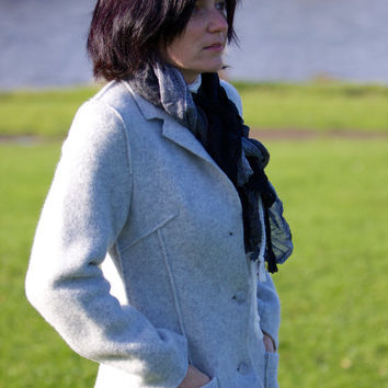 Boiled Wool Women Jacket Light Grey