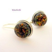 Cola Brown Sparkling Handmade Dichroic Glass Cabochon Dangle Earrings in Sterling Silver Settings