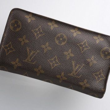 E3834 Authentic Louis Vuitton Monogram Zip-Around Long Wallet *Vintage