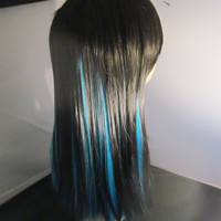 Short Sale-Wig Long Teal &  Black- Long Bangs -Cosplay- Anime- Costume Wig-Synthetic Wig- Chemo Wig- Punk- Colored Wig-Rocker-Hippie