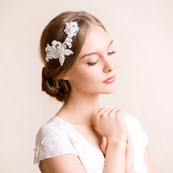 Lace Headpiece Bridal Hair Accessory Wedding Rhinestone Fl