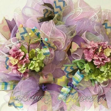 Easter Spring deco mesh Wreath hydrangeas floral door wreath pink, purple, green, yellow ribbons flowers floral picks by VineandWhimsy @Etsy