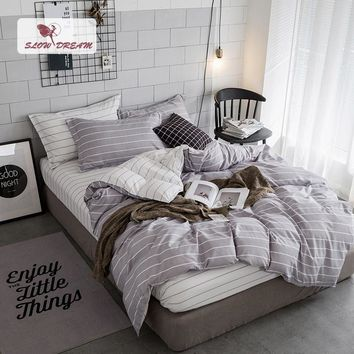 SlowDream Stripe Bedding Set Duvet Cover Linens Double Bed Sheets Set Bedspread Twin Queen King Euro Gray White Adult Bedclothes