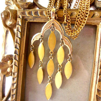 Yellow Enamel Waterfall Pendant Necklace, Gold Tone, Double Chain, Dangle Vintage