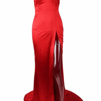 Honey Couture BIANCA Red Satin Style Mermaid Evening Gown Dress