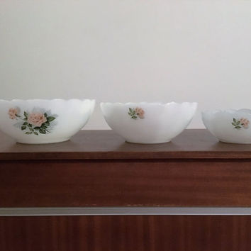 "Vintage 1950s Set of Three (3) Arcopal France Milk Glass Bowls Featuring the Pattern ""Apricot Rose"" / Mid Century French Bowls"