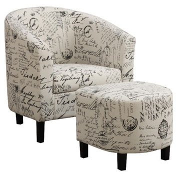 Martina French Script Accent Chair with Ottoman