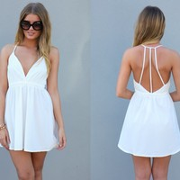 White Strappy Back Sleeveless Dress