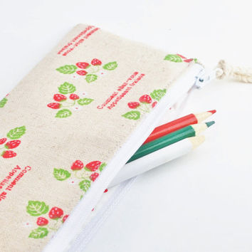 Linen Pencil Case, Strawberry Zipper Pouch, Red, White, and Green