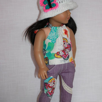 18 inch doll clothes, white floral butterfly halter top, butterfly patch skinny jeans, white brimmed hat with butterfly, upbeat petites