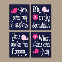 You Are My Sunshine Bird Birdie Flower Wall Art Girl Artwork Navy Hot Pink Nursery Rhyme Quote Baby Song Set of 4 Prints Baby Crib Decor