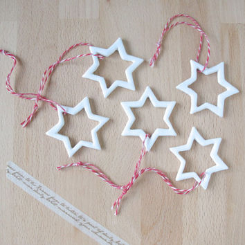 Ceramic Christmas ornaments White stars Home decor Gift tag Christmas tree decor - Ready to ship