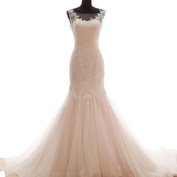 Snowskite Womens Mermaid High Neck Vintage Lace Tulle Wedding Dress