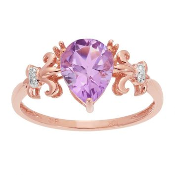 10K Rose Gold Pear Pink Amethyst Ring with Diamond Accent