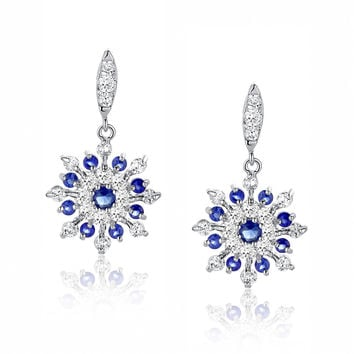 Snowflake W. Blue and Clear Round Cubic Zirconia Earrings