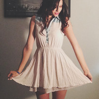 Blue and Cream Collared Mini Dress