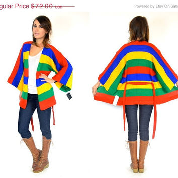 25% OFF SALE bell sleeve DEADSTOCK boho hippie Multicolored preppy primary Cardigan wrap sweater, extra small-