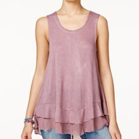 American Rag Juniors' Sleeveless Chiffon-Hem Tank Top, Only at Macy's | macys.com