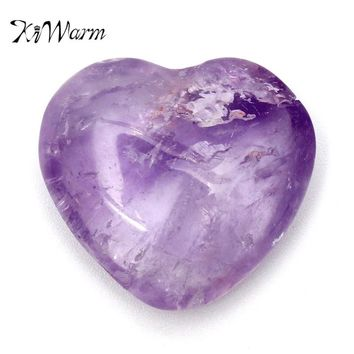 KiWarm 1PC 25mm Purple Amethyst Crystal Quartz Carved Heart Shape Healing Calming Gem Stone for DIY Pendants Crafts Home Decor