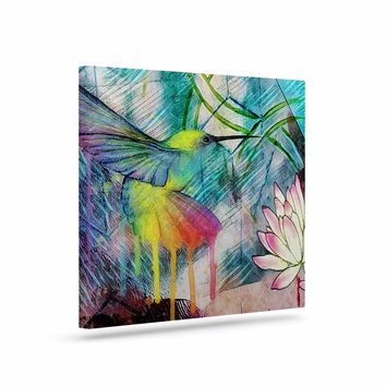 "AlyZen Moonshadow ""Hummingbird With Lotus"" Multicolor Pink Digital Art Canvas"