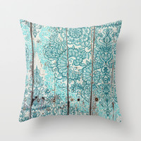 Teal & Aqua Botanical Doodle on Weathered Wood Throw Pillow by micklyn | Society6