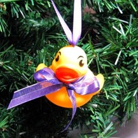 Baby Rubber Ducky Christmas Ornament with Purple Ribbon
