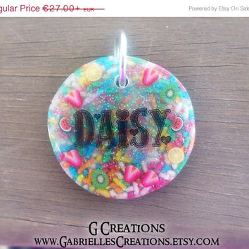 ON SALE Large Fruit & Sprinkles Dog Tag - Night Glow in Dark - Personalized Custom Handmade Dog Pet ID - Resin - Colorful Glitter Collar Acc