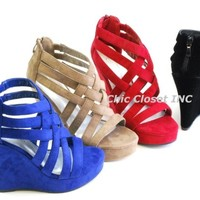 OMA 97 Women Strappy Ankle Open Toe Platform Wedge Sandal