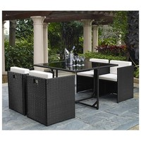Outdoor 5 Pieces Rattan Wicker Chair Table Patio Garden Furniture Set
