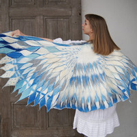 Impressive wing scarf, nuno felted white blue bird winged scarf, felt poncho, bohemian fashion, wearable art . OOAK