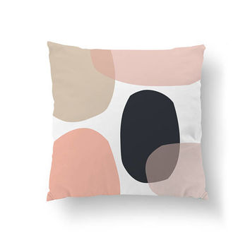 Pink Dark Blue, Minimal Art, Shades of Pink, Throw Pillow, Home Decor, Geometric Shapes, Cushion Cover, Textured Pastel, Decorative Pillow