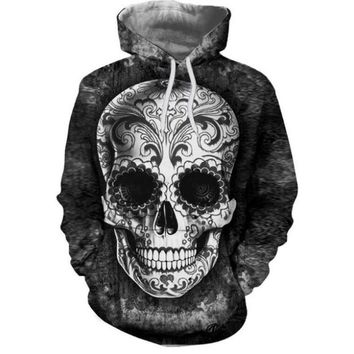 Skull 3D Print Hoodie For Men