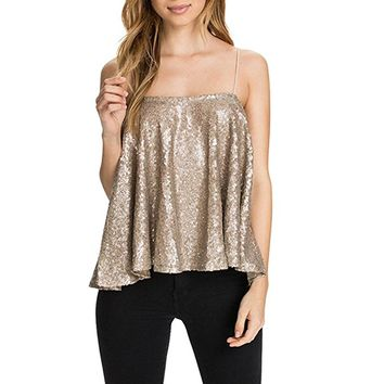 Women's Sexy Gold Sequin Tank Top Club Camis