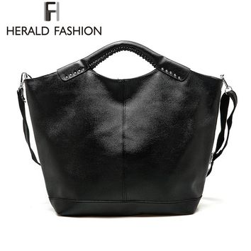Herald Fashion Casual Hobos Bag Rivet Large Capacity Women Totes Bag Autumn and Winter PU Leather Shoulder Bag