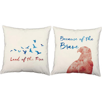 Set of 2 Land of the Free Throw Pillows - 4th of July Pillow Covers With Or Without Cushion Inserts - Patriotic Pillows,Bird Print, Eagle
