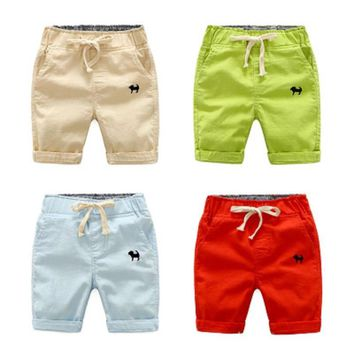 Hot sale Fashion Casual 2018  2 3 4 5 6 7 8 years new boy mid short baby solid summer fifth pants  Kids Camo Surf Beach Shorts