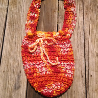 Aries Fire Market Bag - Crocheted Drawstring Shopping Tote Handmade by The Hippie Patch