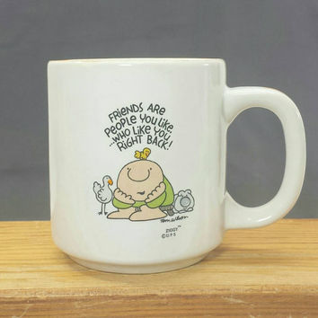 Vintage Ziggy Friends Mug, Friendship Gifts, 1980s Retro Cartoon Comic, Coffee Tea Cups, Stoneware Mugs, Tom Wilson