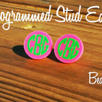 Beauty Pink Acrylic vinyl Monogram stud post Earrings PLUS BONUS GIFT!!
