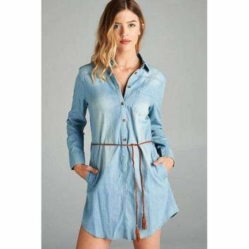 Chambray Tunic w/ Pockets - Light Blue - M