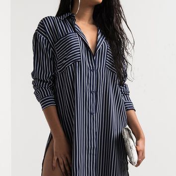 AKIRA Oversized Button Up Lightweight Stripe Shirt Dress in Navy