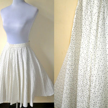 ivory white polka dots full circle midi skirt (small; 24 inches)